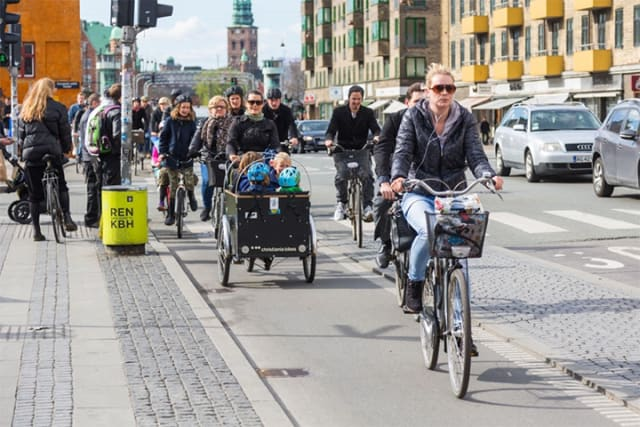 With five times as many bikes as there are cars, Copenhagen is considered the biking capital of the world. It's a city where 17 percent of families with kids even have a cargo bike, with a large storage section attached to the front. (Image courtesy of City IO.)