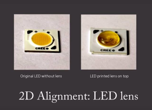 A lens 3D printed on top of an LED. (Image courtesy of CSAIL.)