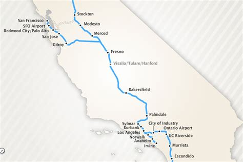 A slice of the California HSR project, including the section from Merced to Bakersfield currently under construction. (Image courtesy of LA Curbed.)