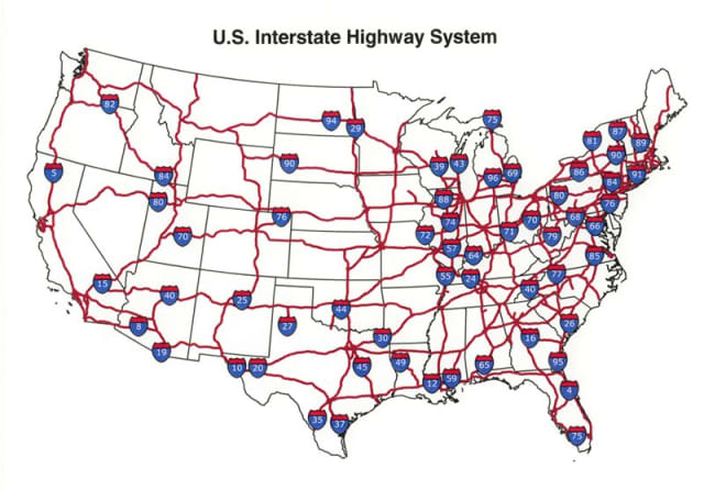 The U.S. highway system. (Image courtesy of Wikipedia.)
