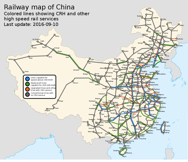 China's railway system. (Image courtesy of Wikipedia.)