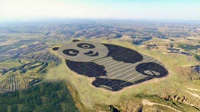 China's panda-shaped solar farm. (Image courtesy of China Merchants New Energy/Panda Green Energy)