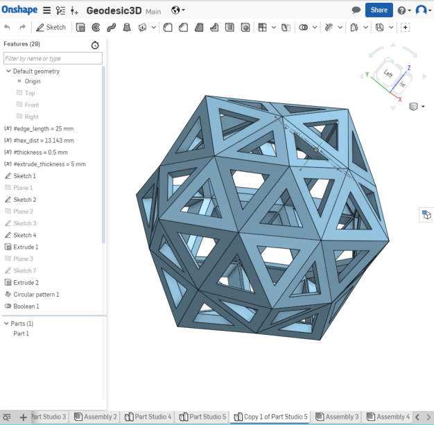 Screenshot of Onshape, a cloud-based CAD program that runs entirely in-browser.