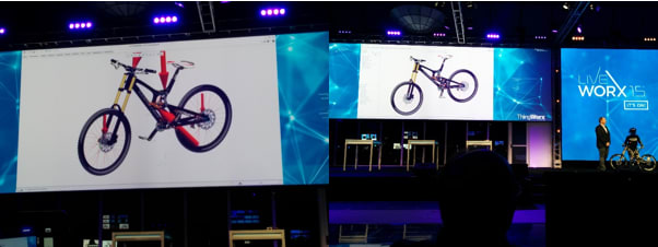 The data you get from your Digital Twin can open up new product opportunities, suggest maintenance cycles, improve future designs, track products in the field and predict how the product will react and validate your initial design decisions. (Image taken by Shawn Wasserman at LiveWorx 2015).
