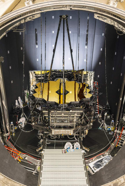 NASA's James Webb Space Telescope sits inside Chamber A at NASA's Johnson Space Center, Houston. (Image courtesy of NASA/Chris Gunn.)