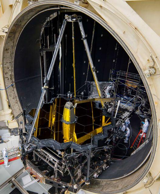 NASA's James Webb Space Telescope crossing the threshold into Chamber A at NASA's Johnson Space Center, Houston on June 21, 2017. (Image courtesy of NASA/Chris Gunn.)