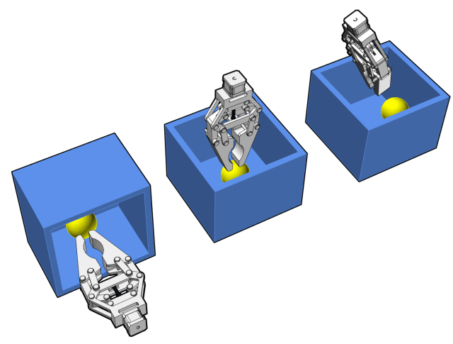 Figure 1: The sphere is symmetric and can be grasped from any angle. The figure shows 3 approaches to grasp a sphere. The control system uses a 3 DOF constraint (position only) and optimizes the approach by automatically rotating the gripper to avoid collision with the box.