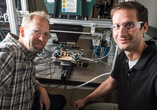 John Geisz and Ryan France built a solar cell that is nearly 50 percent efficient. (Image courtesy of Dennis Schroeder, NREL.)