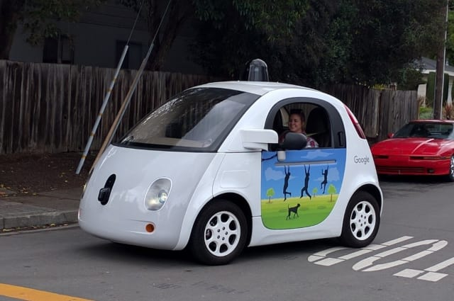 A Google self-driving car from 2016. Note the bulky LiDAR hat. (Image courtesy of Wikipedia user Grendelkhan.)
