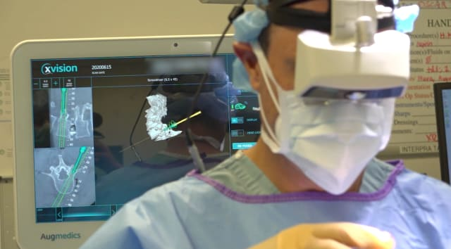 Augmented reality surgical headset. (Image courtesy of Augmedics.)