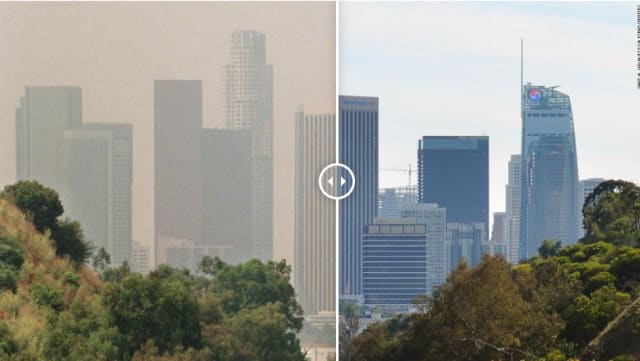 Los Angeles, Calif., before and after COVID-19. (Image courtesy of Reuters)