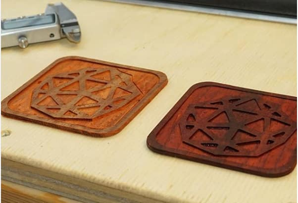 Custom coasters with the engineering.com logo. (Image courtesy of SIENCI Labs.)