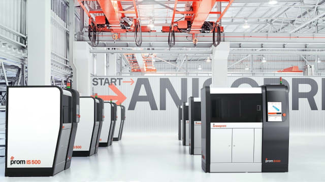 A rendering of ProM IS 500 3D printers on the factory floor. (Image courtesy of Anisoprint.)