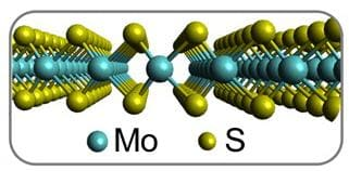 Schematic of a 2D layer of MoS2. (Image courtesy of Christoper Petoukhoff.)