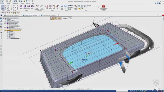 Screenshot of subdivision modeling in Solid Edge 2021. (Image courtesy of Siemens.)