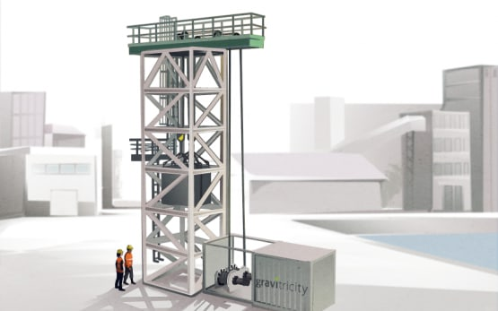 A 16-meter tower with 50 tons of mass will serve as a demonstrator. (Image courtesy of Gravitricity.)