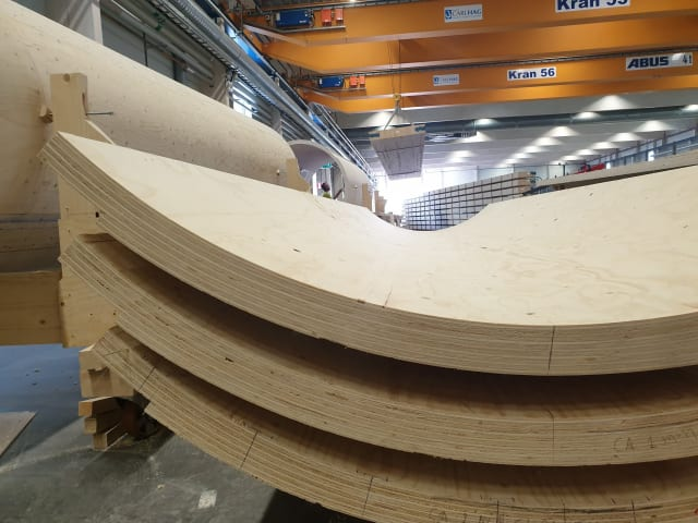 Modular sections of laminated wood. (Image courtesy of Modvion.)