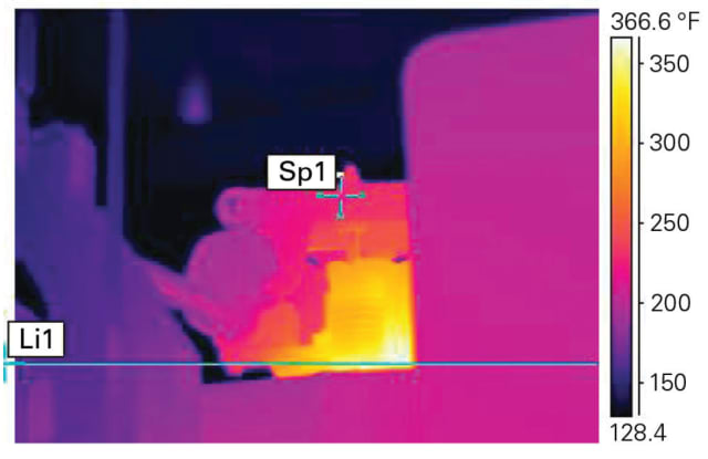 Thermal image of a steam turbine control valve. (Image courtesy of Chemours.)