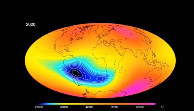 South Atlantic Anomaly. (Image courtesy of ESA.)