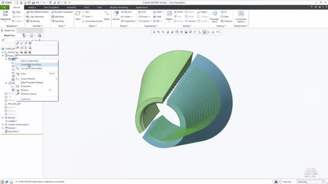 Screenshot of multibody design work in Creo 7. Note the option to set the highlighted body as a construction body. (Image courtesy of PTC.)