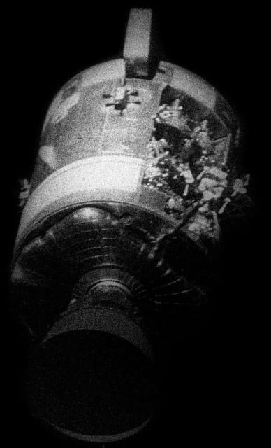 Scan of the Odyssey's service module explosion from Apollo 13. (Image courtesy of NASA.)