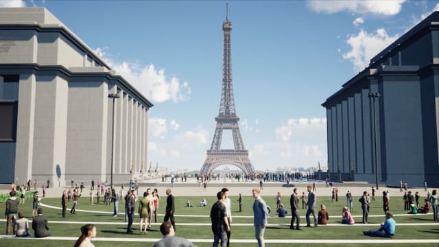 Architecture company Gustafson Porter + Bowman's new design for the grounds around the Eiffel Tower features an increased amount of pedestrian and green space. (Image courtesy of Autodesk.)