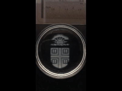 Time-lapse video shows an intricately printed Brown logo dissolving away after the application of a biocompatible chemical trigger (speed 300X real time). (Image courtesy of Wong Lab/Brown University.)