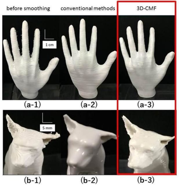 Visual comparison of printed surface before smoothing (1), with smoothing by conventional methods (2) and by 3D-CMF (3). CMF result (a-3) is more uniform than polishing (a-2), and CMF (b-3) accurately preserves more desired surface detail than solvent vapor method (b-2). (Image courtesy of Waseda University.)
