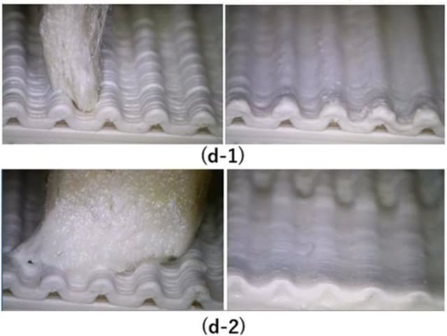 Visual result of changing solvent application pen: d-1 shows how better-fitting pen tip preserves intended surface detail for more accurate result than larger one (d-2). (Image courtesy of Waseda University.)