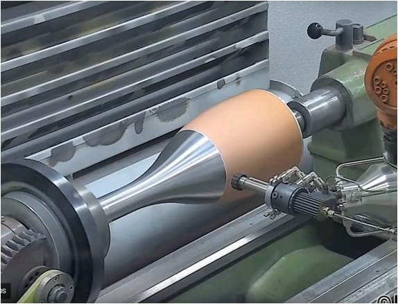 Cold spray copper deposition on a mandrel. (Image courtesy of ASB Industries.)