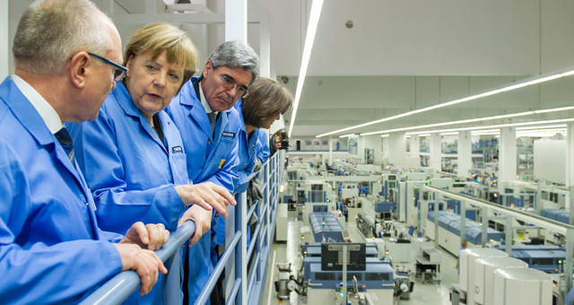 GERMAN CHANCELLOR ANGELA MERKEL WAS IMPRESSED in 2015 by Siemens' famous Amberg factory. It is a great example of what Siemens can produce in terms of practical, well-functioning Industry 4.0 concepts according to what is possible with today's best-in-class tools. NX CAD, the Teamcenter PLM suite, and the Simatic MES solutions play key roles in this facility.