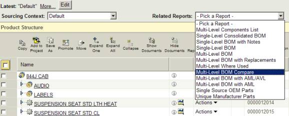A BOM SOLUTION À LA PTC. Windchill PDMLink has many out-of-the-box reports. One of these is the Multi-Level BOM Compare report. This report can show differences between versions, configurations and even unrelated product structures. The Multi-Level BOM Compare report can be accessed from the structure page of any object.