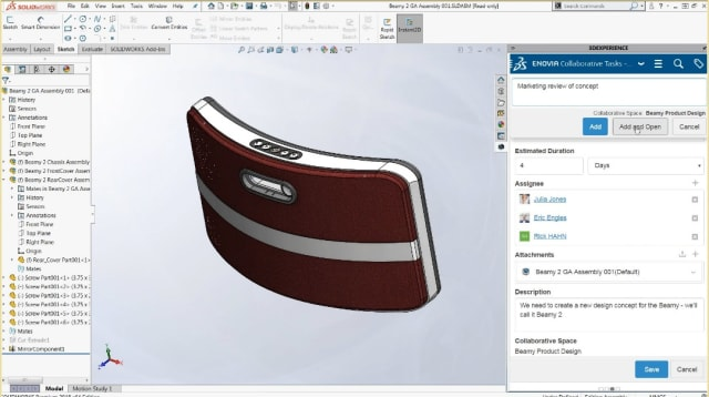 One of several bridges between SOLIDWORKS an 3D EXPERIENCE. Through SOLIDWORKS' 3DEXPERIENCE PLM Services, users can access engineering, technology and business process services in the cloud.
