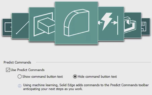 Solid Edge 2021 includes an AI UI that predicts the commands you'll need next. If it's anything like predictive text, it could be a mixed hag. (Image courtesy of Siemens.)