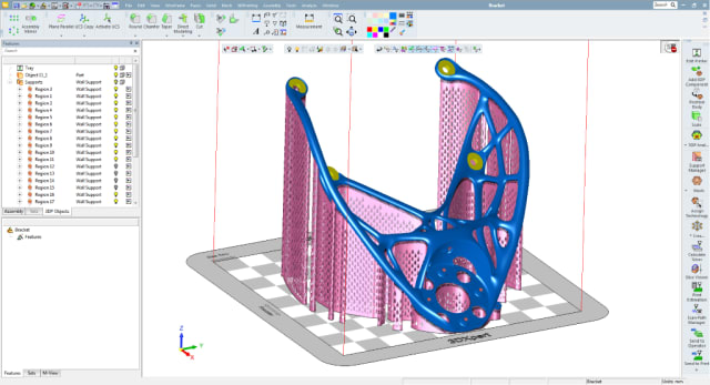 3D Systems' 3DXpert software enables you to create support systems for even the most complex parts. (Image courtesy of 3D Systems.)