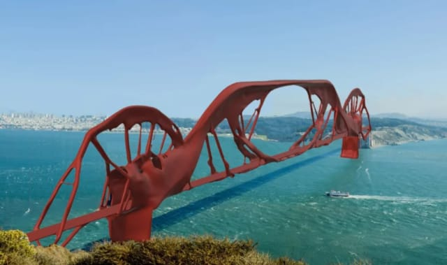 The Golden Gate Bridge, re-imagined with Fusion 360 Generative Design.