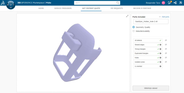 Our sample part, a holder for hand sanitizer, is visible in the Marketplace viewer where you can view it in 3D, from all angles, and place your order from hundreds of vendors.