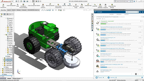 Free add-in for SOLIDWORKS by Dassault Systèmes puts thousands of suppliers and services within easy reach. (Picture courtesy of Dassault Systèmes.)