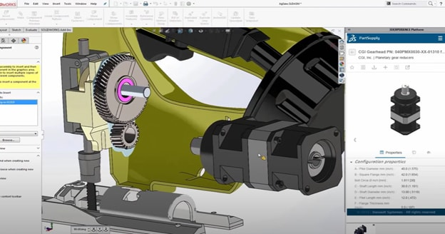 Find a gear head that fits from any one of a number of vendors and drag it right in your assembly, all from within SOLIDWORKS. (Picture courtesy of Dassault Systèmes.)