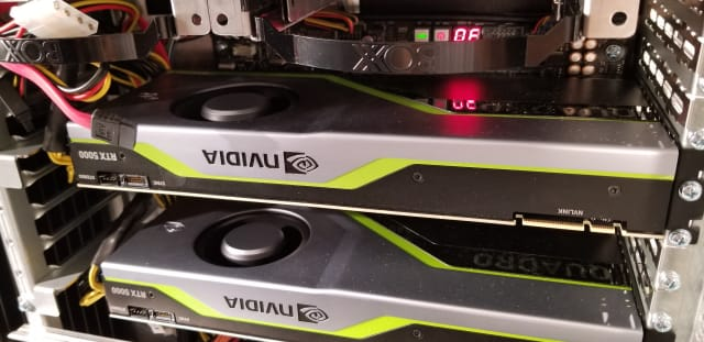 The two NVIDIA Quadro RTX 5000 graphics cards in our Enigma S3 review unit.