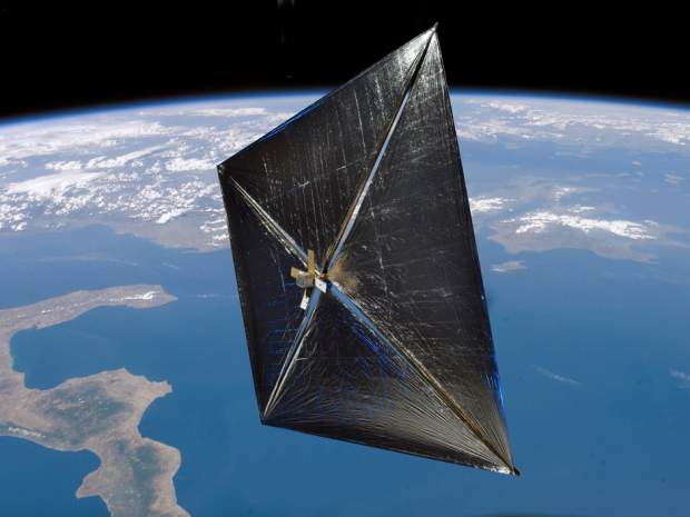 The Solar Sail Demonstration mission led by NASA and L'Garde Inc. aimed to prove the viability of using ultra thin sails and sunlight for propulsion. (Image courtesy of NASA.)