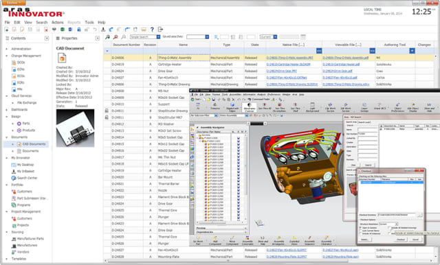 "MULTI-CAD DATA MANAGEMENT. ""We solve challenges ranging from multi-CAD data management to ECO Change, to BOM and configuration management and others,"" asserts Peter Schroer. In the picture, Aras Innovator works with a Siemens NX CAD model."