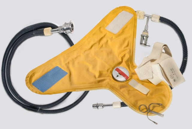 The urine collection and transfer device was used during the Apollo 11 mission and is now on display at the National Air and Space Museum. (Image courtesy of Air and Space.)