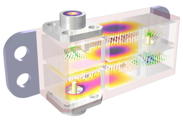 Model of a cascaded cavity filter for mmWave 5G, showing off the new partial transparency function in COMSOL Multiphysics 5.6. (Image courtesy of COMSOL.)