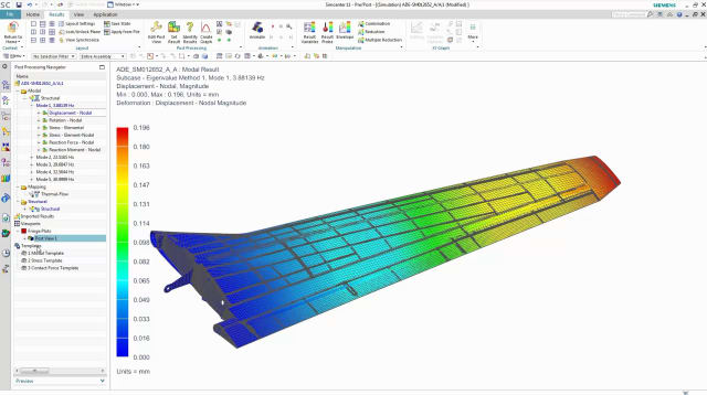 SIMULATION IN THE CENTER OF ATTENTION. Simulation will play a key role in digital twin concepts and will be used in all stages of the product realization process. Siemens platform in this context is Simcenter 3D. In the picture: structural performance analysis on wing design.