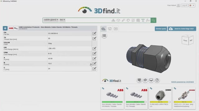 Screenshot of 3Dfind.it for Solid Edge 2021. (Image courtesy of Siemens.)