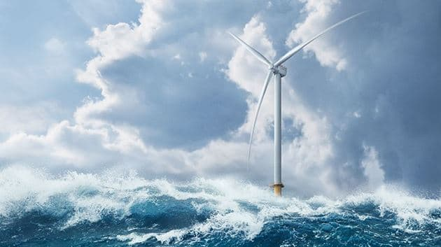 Rendition of the SG 14-222 DD offshore wind turbine in its natural habitat. (Image courtesy of Siemens Gamesa.)