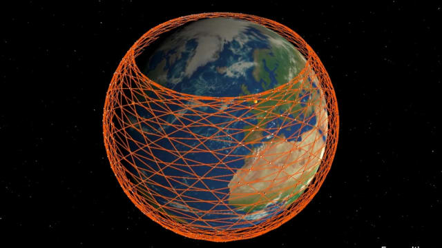 The Starlink constellation's coverage.