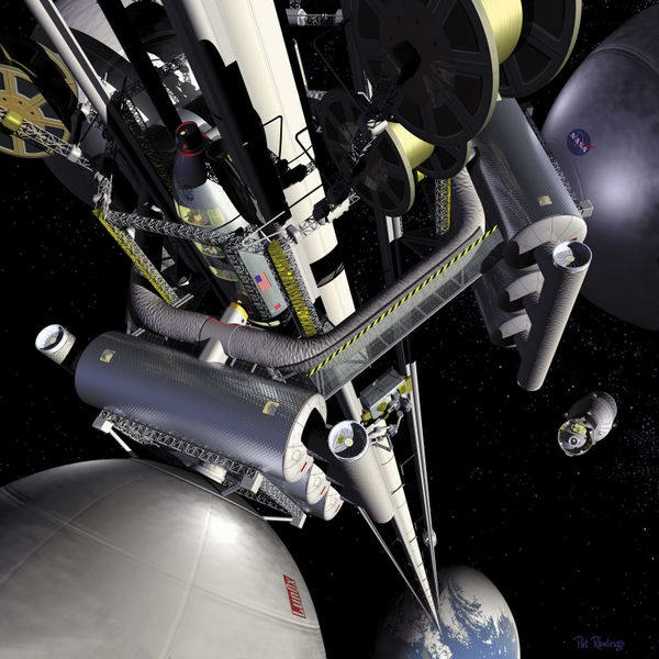 Artist's conception of a NASA space elevator.