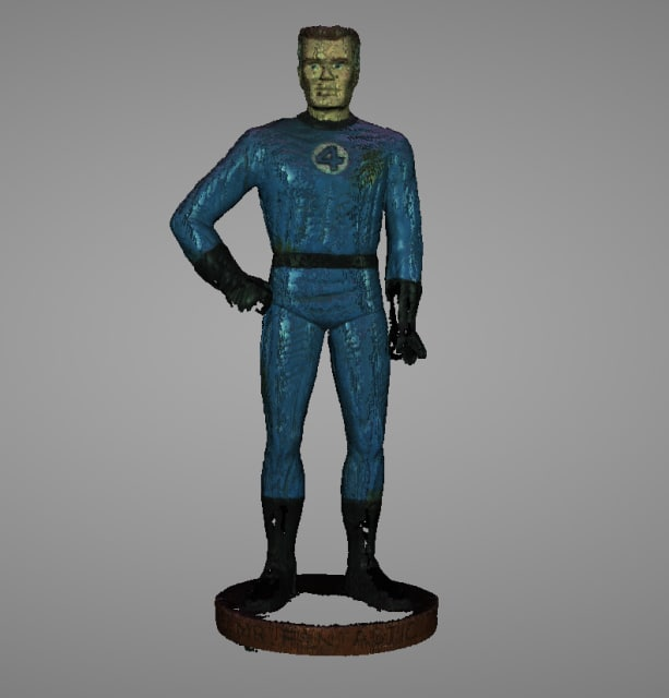 Initial scan of Mr. Fantastic on the EinScan-SP.